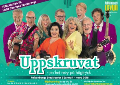 """Falkenbergsrevyn """"Uppskruvat – en het revy på högtryck"""", 5 januari – 16 mars"""